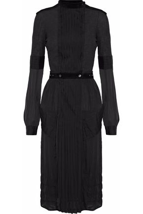BELSTAFF Pleated paneled silk-chiffon and jersey dress