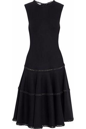 OSCAR DE LA RENTA Embroidered wool-blend midi dress