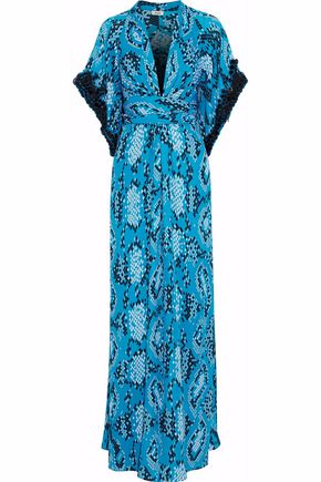 ISSA Embellished printed silk crepe de chine maxi dress