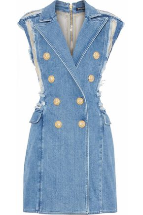 BALMAIN Organza-paneled distressed denim mini dress