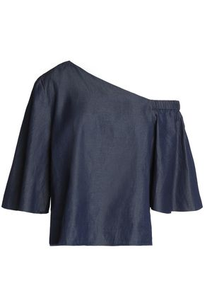 TIBI One-shoulder chambray top