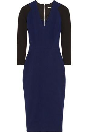 VICTORIA BECKHAM Two-tone silk and wool-blend crepe dress