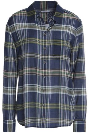 EQUIPMENT Checked cotton and silk-blend shirt