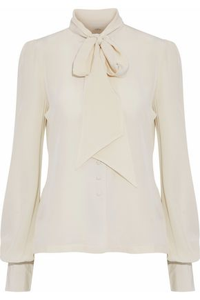 TALITHA Pussy-bow silk crepe de chine blouse