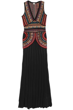 TALITHA Pleated intarsia-knit gown