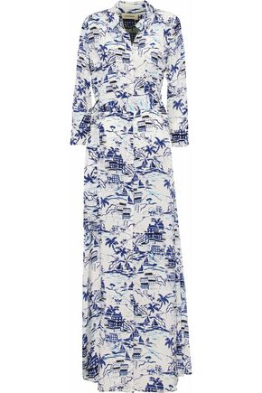 L'AGENCE Cameron belted printed silk-crepe maxi dress