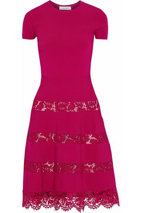 VALENTINO Flared corded lace-paneled dress