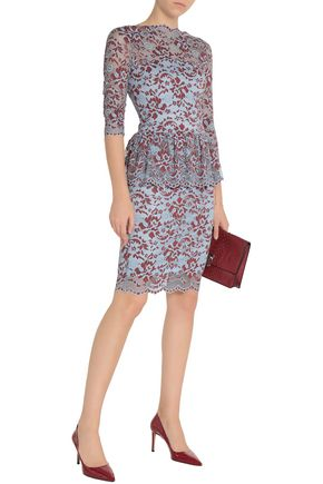 GANNI Flynn lace peplum dress