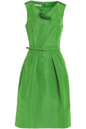 OSCAR DE LA RENTA Belted draped duchesse silk-satin dress
