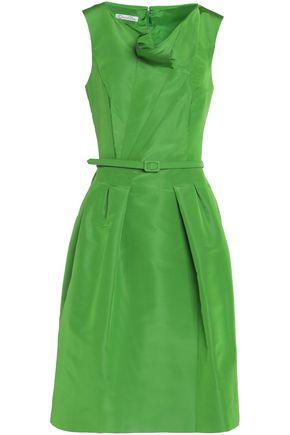 OSCAR DE LA RENTA Belted draped duchesse silk-satin dress
