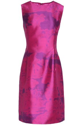 OSCAR DE LA RENTA Printed duchesse-satin dress