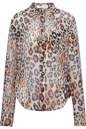 CHLOÉ Leopard-print cotton and linen-blend gauze shirt