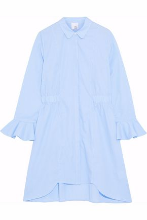 IRIS & INK Emanuele striped cotton-poplin shirt dress