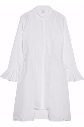 IRIS & INK Gathered cotton-poplin shirt dress