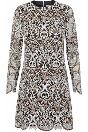 VALENTINO Metallic embroidered tulle mini dress