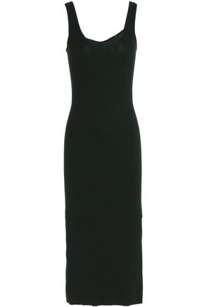 ENZA COSTA Ribbed stretch-jersey midi dress