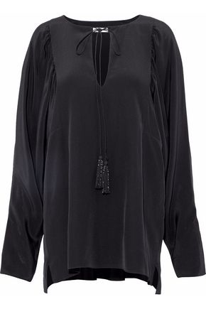CHLOÉ Tassel-trimmed silk-satin top