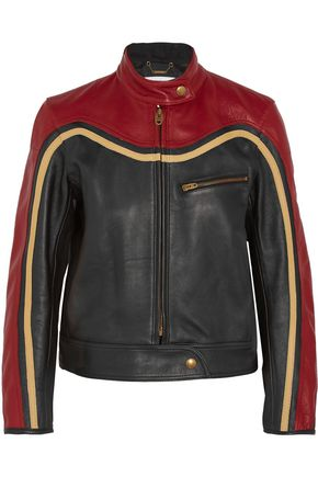 CHLOÉ Paneled leather biker jacket
