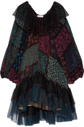 CHLOÉ Ruffled tulle and printed silk-georgette dress