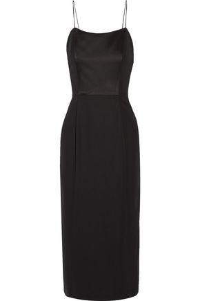 ADAM LIPPES Satin-paneled crepe midi dress