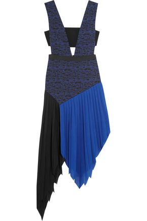 SELF-PORTRAIT Sunray asymmetric crepe and jacquard dress