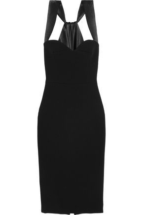 VICTORIA BECKHAM Satin-trimmed crepe dress