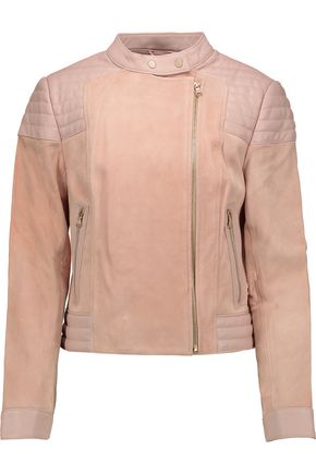 J BRAND Cardiff quilted leather-paneled suede jacket