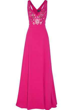 MARCHESA NOTTE Embroidered crepe de chine gown