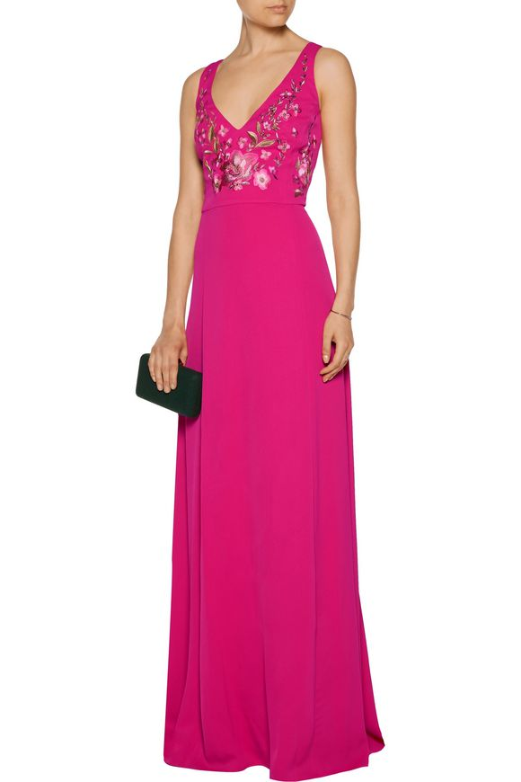 Embroidered crepe de chine gown | MARCHESA NOTTE | Sale up to 70% off | THE  OUTNET