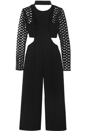 SELF-PORTRAIT Guipure lace-paneled cutout crepe jumpsuit