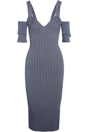 VICTORIA BECKHAM Cold-shoulder ribbed stretch-knit dress