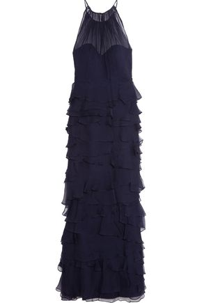BADGLEY MISCHKA Tiered ruffled plissé-silk gown