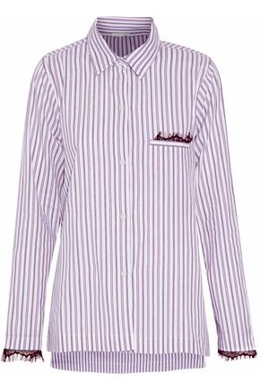 SKIN Chantilly lace-trimmed striped cotton pajama shirt