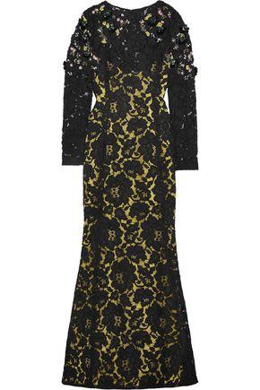 OSCAR DE LA RENTA Embellished cotton-blend macramé lace gown