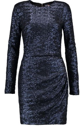 MSGM Gathered sequin-embellished faille mini dress