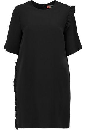 MSGM Ruffle-trimmed crepe mini dress