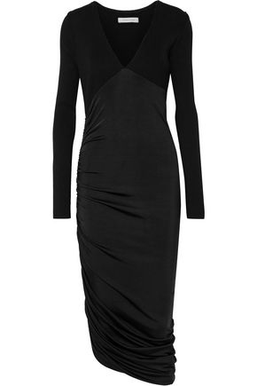 PIERRE BALMAIN Ruched paneled stretch-knit and satin-jersey midi dress