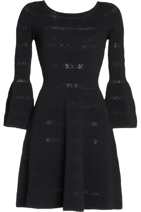 SANDRO Flared crochet-trimmed stretch-knit mini dress