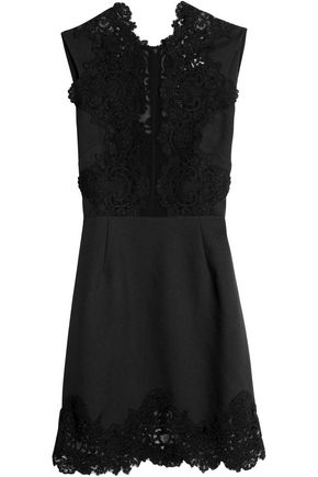 SANDRO Paris Lace-paneled twill mini dress