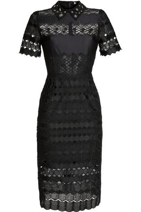 SANDRO Embellished crocheted dress