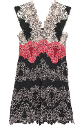 SANDRO Mesh-paneled lace mini dress