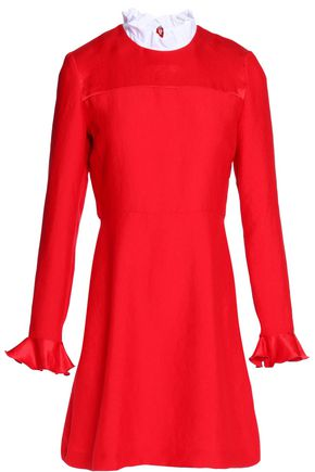 SANDRO Crepe-trimmed sateen mini dress