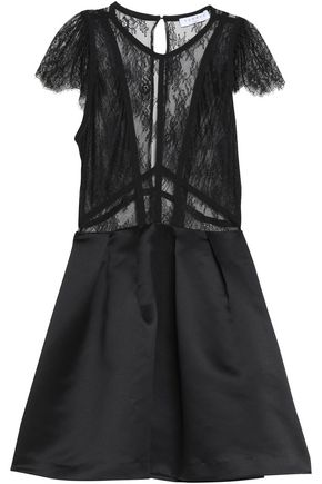 SANDRO Lace and satin mini dress