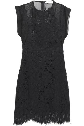 SANDRO Voile-paneled lace mini dress