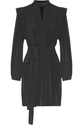 ISABEL MARANT Brad pleated crepe mini wrap dress