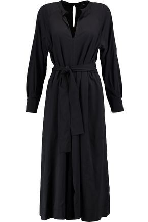 ISABEL MARANT Dayna belted stretch silk and wool-blend midi dress