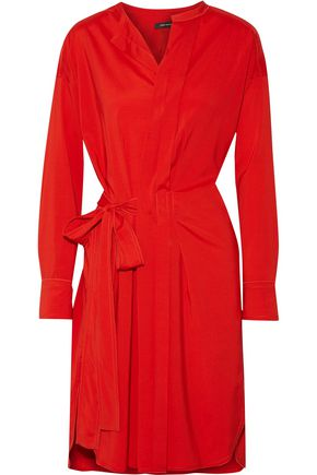 ISABEL MARANT Pleated silk-blend wrap dress