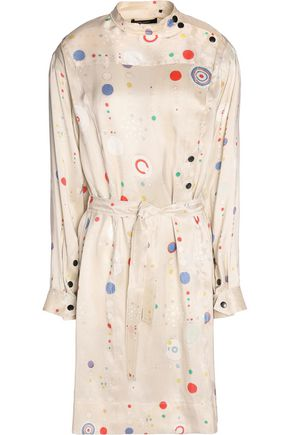 ISABEL MARANT Ossie belted printed silk mini dress