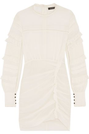 ISABEL MARANT Paneled ruffle-trimmed silk-blend mini dress