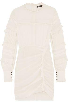 ISABEL MARANT Paneled ruffle-trimmed silk-blend mini dress